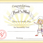 Food of the Week Certficate